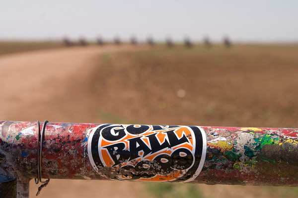Gumball sticker on gate to Cadillac Ranch<br /> Amarillo, TX