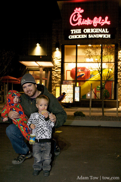 Jared and Jodi Penman and their family outside of the new Chick fil-A location in Aurora, Colorado. The first 100 people will get free food for a year!