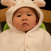 Abby in her lamb outfit for Halloween.