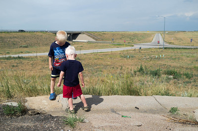 Levi and Owen always have something to explore.  High Plains of Colorado.