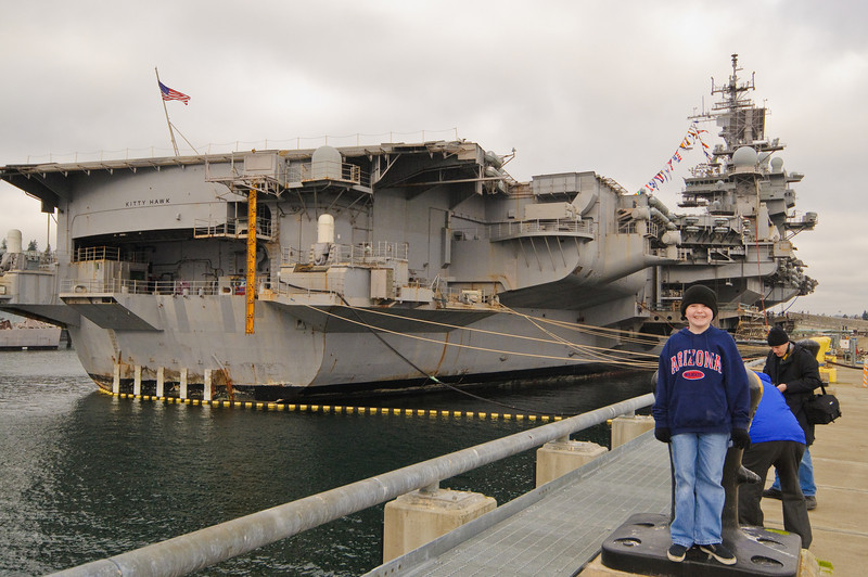 Connor and the USS Kitty Hawk.