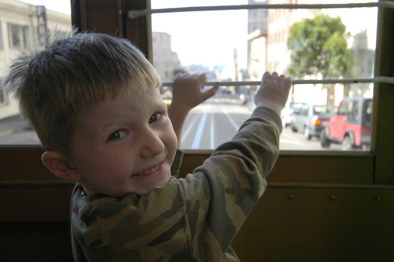 6-29-2005 -- Connor riding shotgun on the Cable Car.