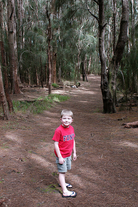 (11-07-2005)  Connor on the trail to the Kalaupapa lookout.