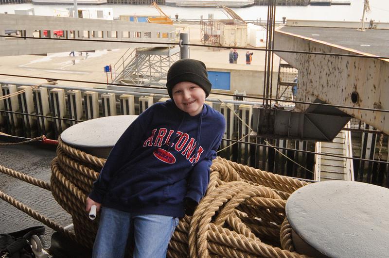 Connor on the USS Kitty Hawk.