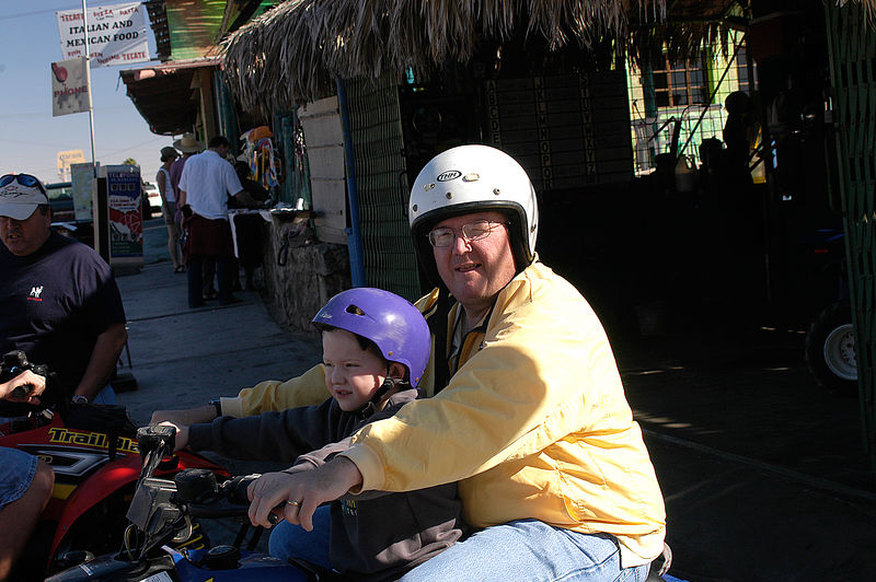 (12.27.2005)  Connor and Dad getting reading to roar off.