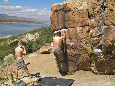 Conor and Will climbing at Horsetooth, September 7, 2008