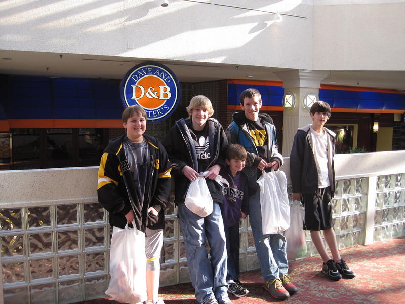 Conor's 14th Birthday was at Dave and Busters.  Try getting 4 14 year olds to get closer for a picture is like pulling teeth.<br /> Nick, Ethan, Zach, Kyle and Conor.