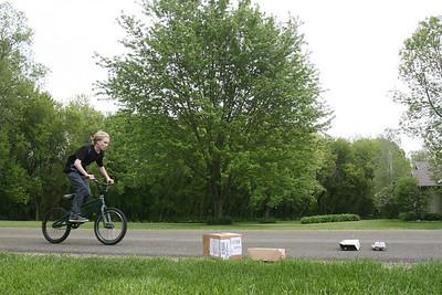 Conrad on his BMX