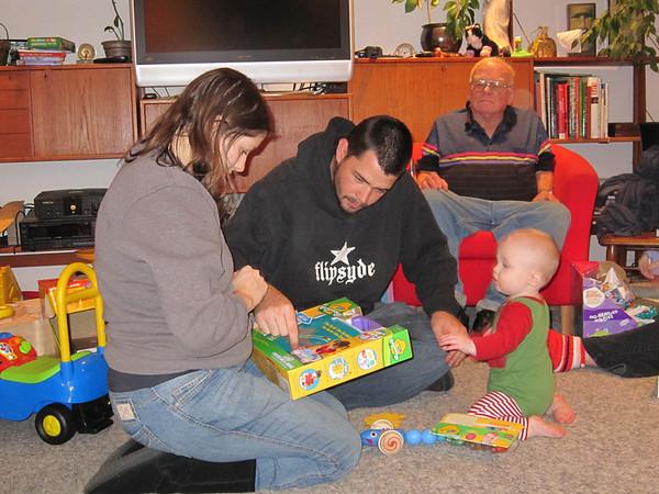 Opening presents (Nicole's 2nd Christmas, 2010)
