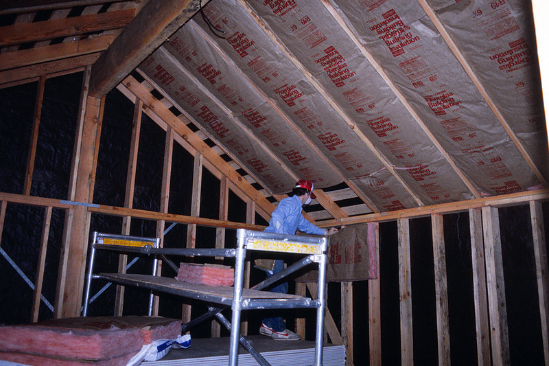Hanging insulation in master bedroom