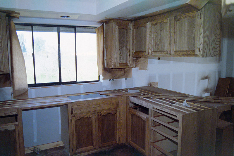 Cabinets being stained