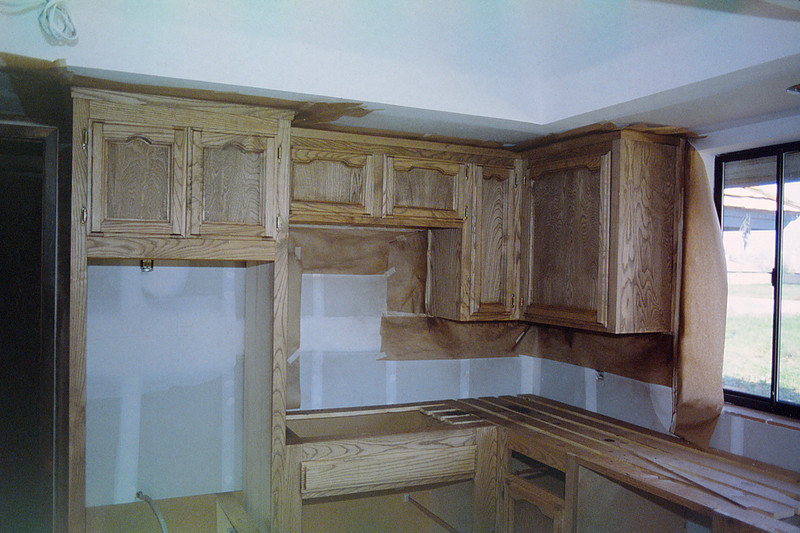 Hanging cabinets in kitchen