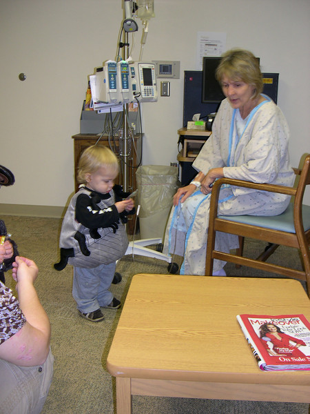 Grandma Eileen and Cousin Emre the scary spider 10/31/08 - shortly after Eileen's big operation.