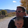 "Dave and Cooper in Durango 10/08 - we took the ""great pumpkin ride"" on the train and here we are all on a hay ride."