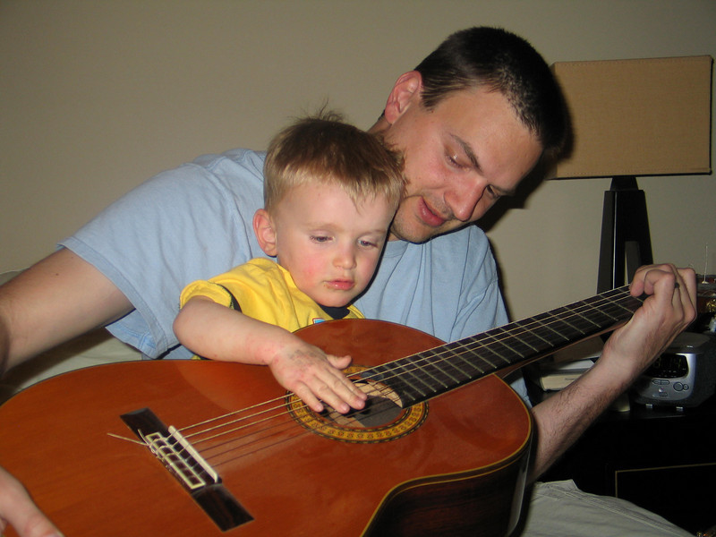 Dave and Cooper play guitar together 3/09.
