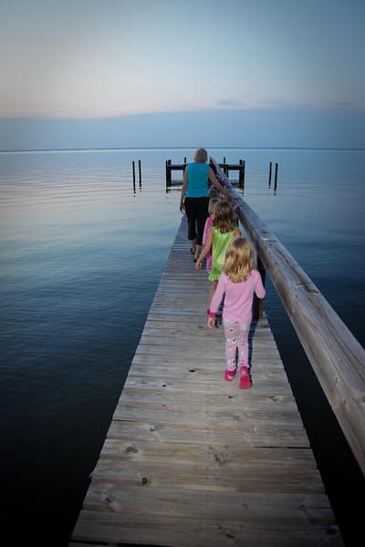 Sunset walk on the dock