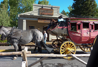 Next to the park in downtown Jackson, WY we found this stage coach ready to give rides around town.