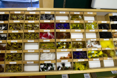 This is a fly shop rack of materials - fishing is in important passion in Jackson Hole.
