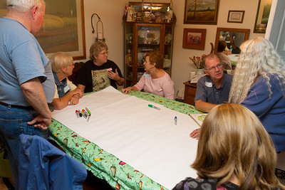 George spread out a giant sheet of paper to use with lots of colored pens - for making a family tree to figure out how we were all related. David, Janet, Mary, Nelda, Don, Deborrah, Hanah
