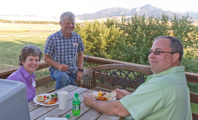 Teri, Dave, and Mike enjoying the evening on the deck.