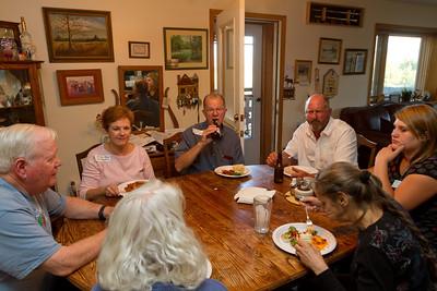 Lots of cousins gathered for dinner at Haug Ranch.  David, Nelda, Don, Roger Deborrah, Mary, Hanah