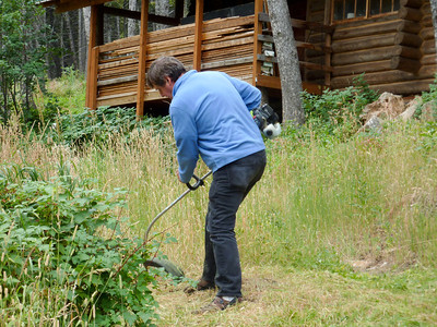 Dave was worried about car catalytic converters possibly igniting the dry summer grass, so George volunteered to clear the parking area by the lower cabin.