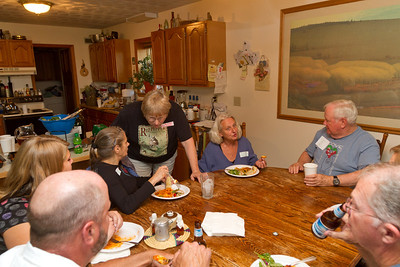 Lots of dinner, lots of conversation. Roger, Hanah, Mary, Mary, Deborrah, David, Don