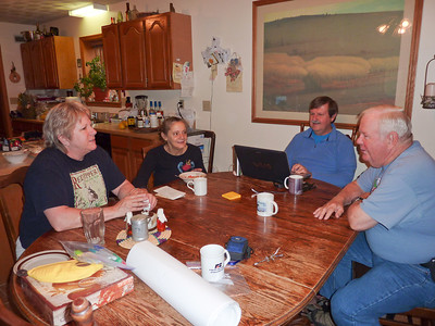 Breakfast at Haug Ranch with Mary, Mary, Dave, and David.