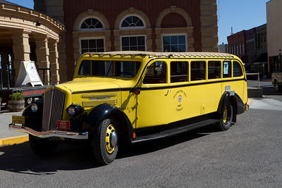 This is an original Yellowstone Park Company tour bus like many train passengers would take to get from the depot in Livingston, MT to lodges in Yellowstone Park to the south.