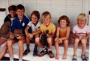 "Matt Corfe, Scott Taylor, Daniel Corfe, Craig Taylor, Rachel Corfe and Kirsten Taylor at ""Norton"", Roma in 1983."
