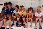 "Matt Corfe, Scott Taylor, Daniel Corfe, Craig Taylor, Rachel Corfe and Kirsten Taylor at ""Norton"", Roma in 1983."