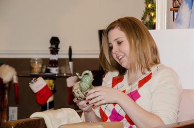 Helen opens her gifts.