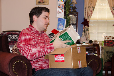 Donnie opens his gifts.