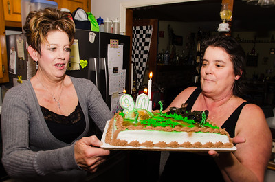 Debbie and Tina perpare Grandpa Croxton's Birthday Cake