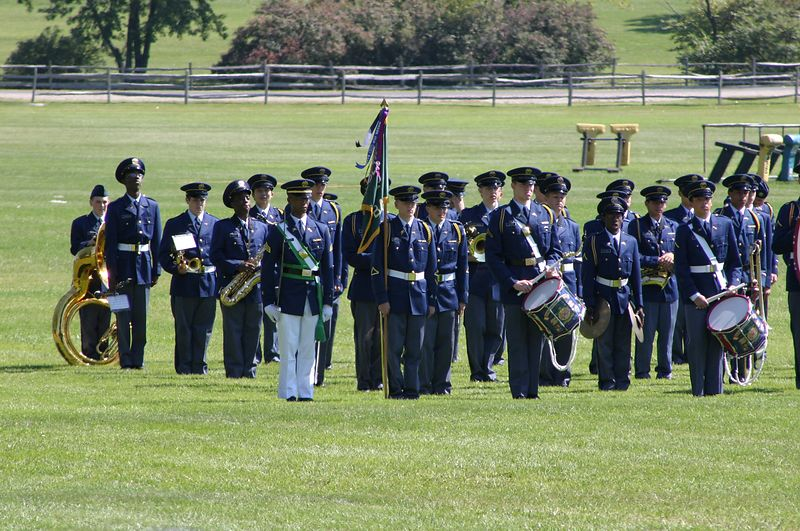 Band Unit on review September 19.  Notice the regimental banner, which they were just awarded for being the best overall unit for the week.