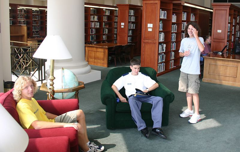 Alex, Evan, and Patrick in the library.