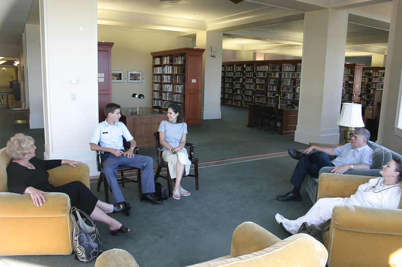 Tim's mother, Evan, Leslie, and Leslie's parents in the library September 19.  The group of us had a great time visiting Evan, and the day was spectacularly beautiful weather-wise, a real treat for this part of the country this time of year.