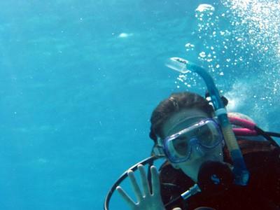 Kathryn waving SCUBA