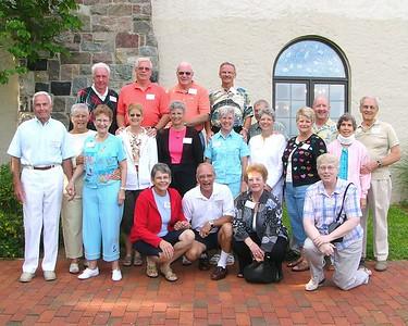 Ed Curtis grandchildren and spouses (left to right): ---BACK >  John Kepler, Sam Gilbert, Chip Stuckey, Paul Agnew ---MIDDLE (standing) >  Jim Garretson, Carolyn Kepler, Pat Garretson, Linda Gilbert, Ellen Stuckey, Sandi Agnew, Ralph Boase, Paula Boase, Penny Rice, Bob Rice, Wilhelmina Fledderjohn, Fritz Fledderjohn ---FRONT >  Percy Fledderjohn, Ed Fledderjohn, Susan Hughes, Trish Boase