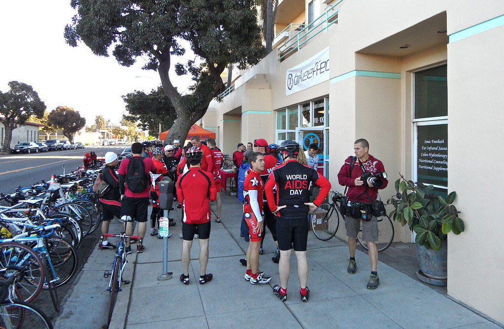 Folks gathering at Bike Effect in Santa Monica