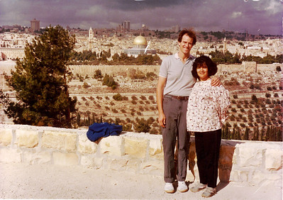 on the mount of olives with our prophetical picture.. married for 3 months and 7 weeks pregnant, BUT I look 7 months or  more pregnant