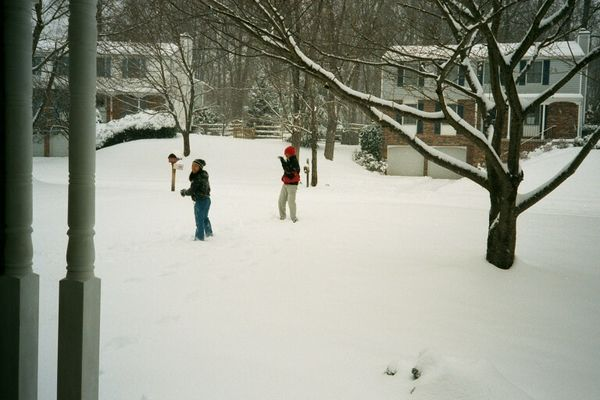 Sib's playing in the front yard snow, 2002-2003 winter