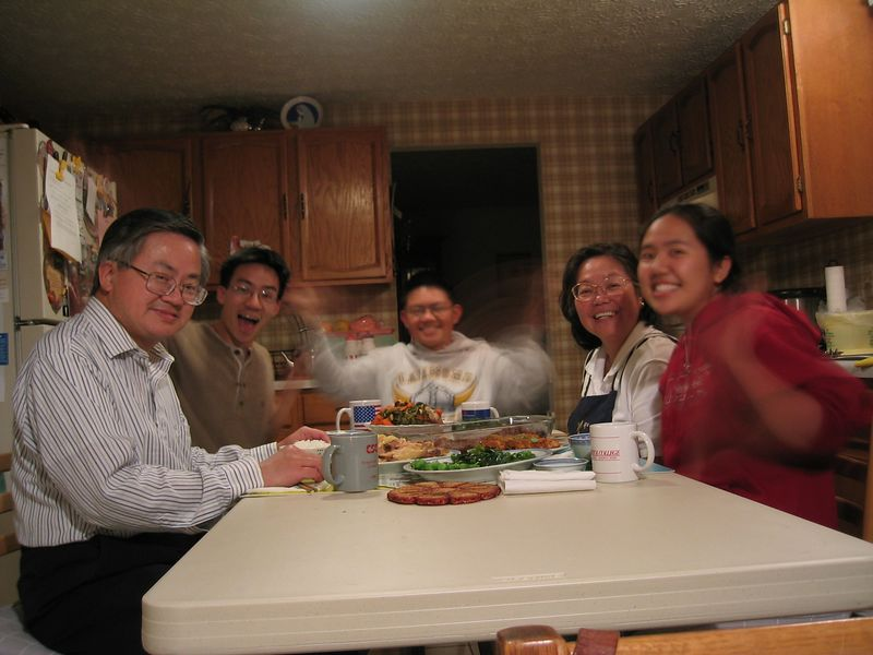 2003 11 10 Monday - Family photo around dinner table - fun with long shutter
