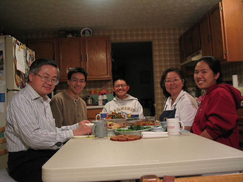 2003 11 10 Monday - Family photo around dinner table