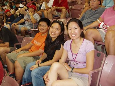 2005 Summer - Daron & Cathy Cam visit MD - Silo, Muoy Muoy, & Cathy @ Washington Nationals baseball game