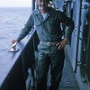 March 1965: Believed to be Capt. Jim Champlin CO of H & S Company with the 2nd Battalion 4th Marines on board the USS Magoffin (APA-199) en route to Okinawa from Hawaii.