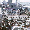 March 1965: The troops of the 2nd Battalion 4th Marines being entertained during its long journey from Hawaii to Okinawa aboard the USS Magoffin (APA-199).
