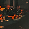 """March 1965:  Somewhere deep in the bowels of the USS Magoffin, officers of the 2nd Battalion 4th Marines (2/4) appear to be relaxing over a cup of coffee.  Seated in the middle appears to be Lt. Col. Joseph """"Bull"""" Fisher, commanding officer of 2/4."""
