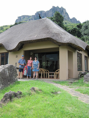 Lindsay, Angela and Susan Miln at the beautiful chalet at the Royal Natal National Park in the Drakensberg Mountains.