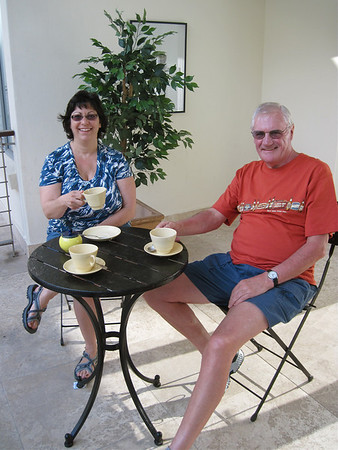 A wee cuppa in the patio for Susan and Dave.